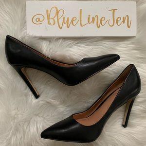 Terri Black Leather Pointed Toe Stiletto Pump NWOT